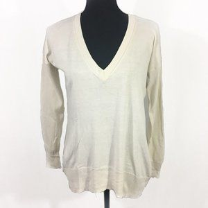 Banana Republic Cream V-Neck Sweater S Silk Blend